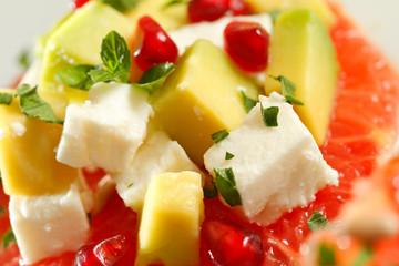 Avocado salad, close up