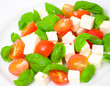 salad with tomato, cheese and basil