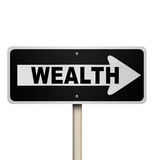 Choose the Road to Wealth Street Sign Financial Advice