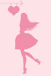 fashion girl on a pink background