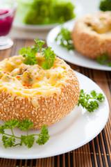 bun stuffed with mushrooms and cheese