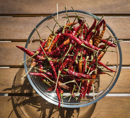 Italy, Sicily, dry sicilian red hot chili peppers in a bowl