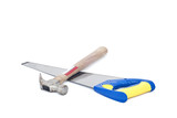 Handsaw and hammer on white background