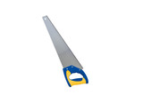 Metalic handsaw on white background