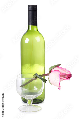 Bottle and roses