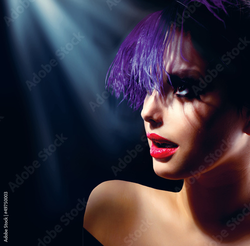 Fashion Art Girl Portrait With Violet Hair. Hairstyle