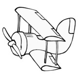 hand drawn, cartoon, vector illustration of toy airplane
