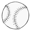 hand drawn, vector, cartoon image of baseball ball