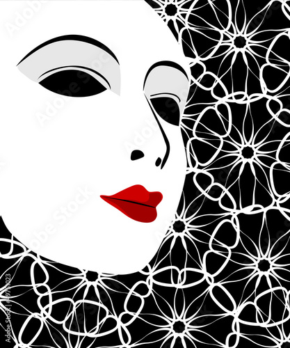 White mask and black background