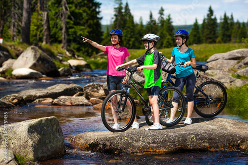 Active people biking