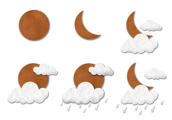 Weather leather and paper craft stick isolated on white