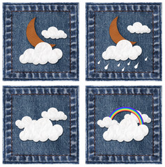 Weather leather and paper craft stick on jeans background