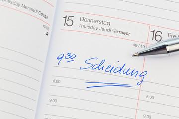 Eintrag im Kalender: Scheidung