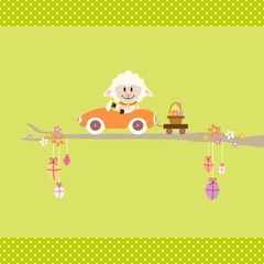 Sheep On Tree Driving Car Easter Basket Green Dots