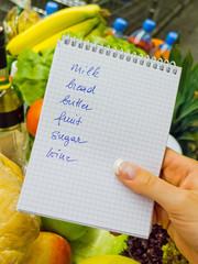 Einkaufsliste im Supermarkt (Englisch)
