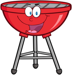 Red Barbecue Cartoon Mascot Character
