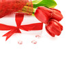 Red tulips with gift