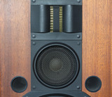 Loud speaker system with wood finish and black grills details
