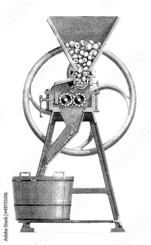 Machine : making Cider - Cidre - Apfelwein - 19th century