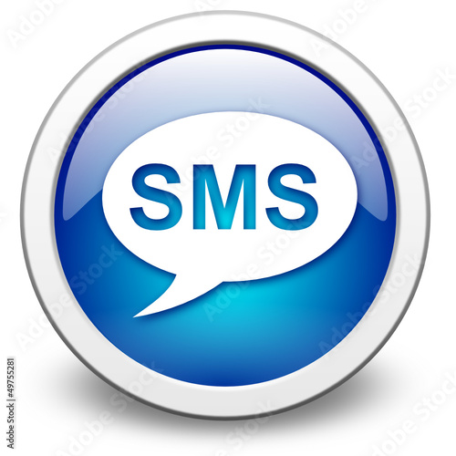 vektor button, SMS blau
