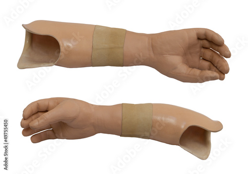 Two view of the prosthetic arm isolated on a white background