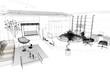 Quadro Rendering progetto, interni, interior, Appartamento