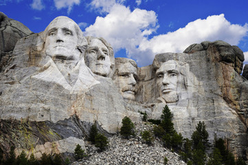 Mount Rushmore with blue sky