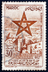 Postage stamp Morocco 1957 Sultan's Star over Casablanca