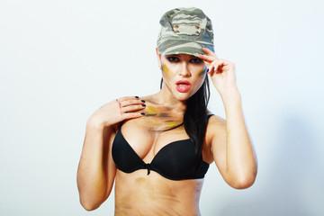 camo girl in hat