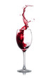 Red wine splash over white background