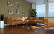 modernes Wohnzimmer mit Ledersofa