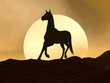 Horse galloping by sunset - 3D render