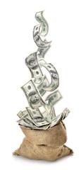 Falling dollars in the bag