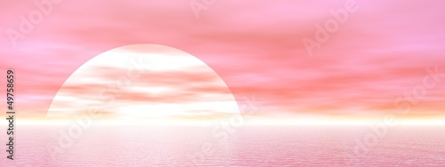 Pink sunset - 3D render
