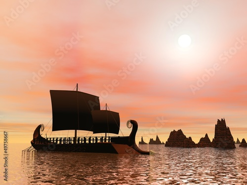 Greek trireme boat - 3D render