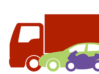 Ilustração com diferentes tipos de transporte