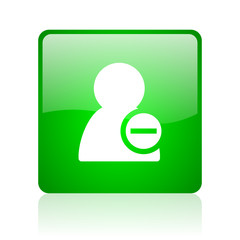 remove contact green square web icon on white background