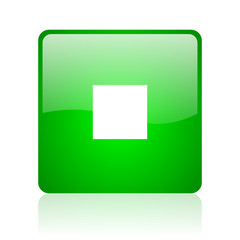 stop green square web icon on white background
