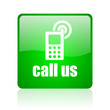 call us green square web icon on white background