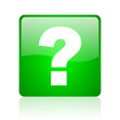 question mark green square web icon on white background