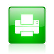 printer green square web icon on white background