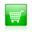 shopping cart green square web icon on white background