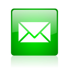 mail green square web icon on white background