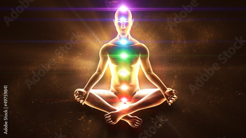 Meditating enlightenment - chakra symbols
