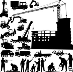 construction objects vector (crane - worker - building)