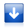 arrow down blue square glossy web icon on white background