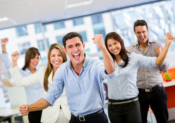 Business team celebrating a triumph