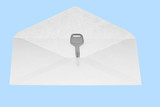 The key in open mail envelop.