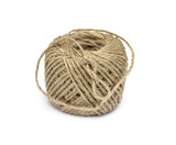 Skein of jute twine on the white background