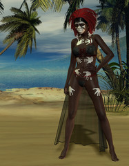 Voodoo Priesterin am Strand